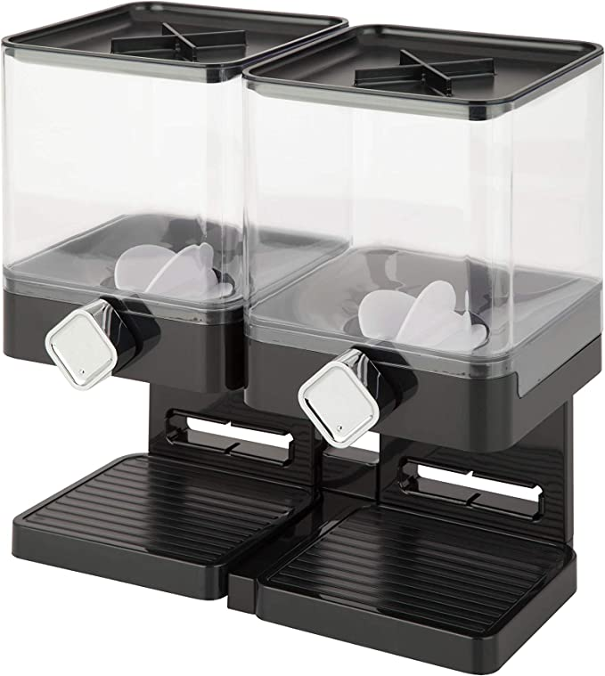 Amazon.com: Zevro Compact Dry Food Dispenser, Dual Control, Black/Chrome: Food Savers: Kitchen & Dining