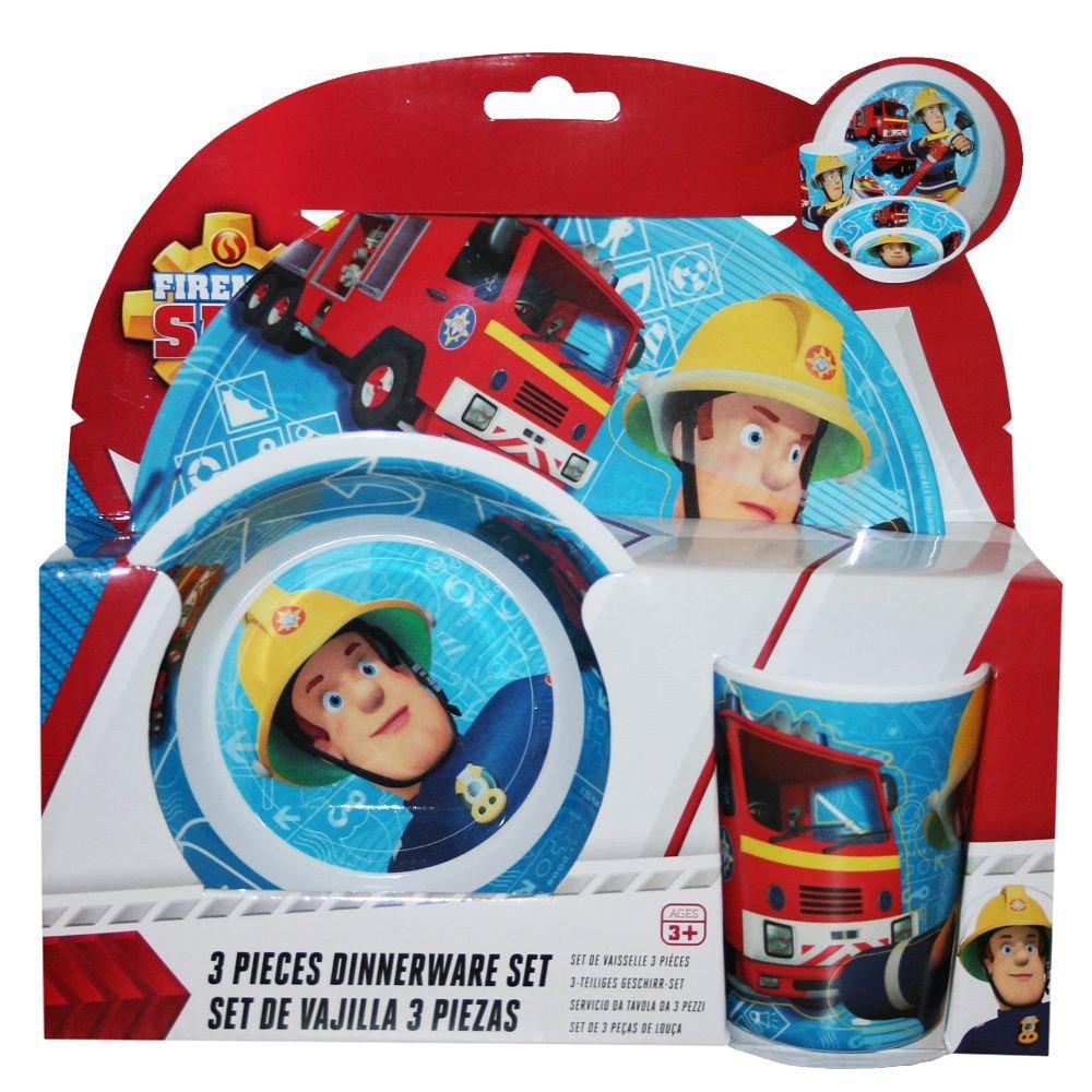 Sam El Bombero - Fireman Sam - Set Cubiertos - Plato, Plato Hondo, Vaso ZAK Design