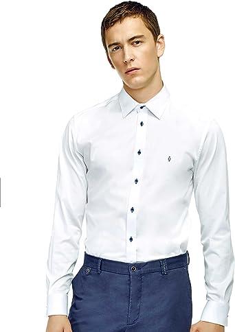 Caramelo, Camisa Slim Cuello Ingles, Hombre · Blanco Optico, Talla XS: Amazon.es: Ropa y accesorios