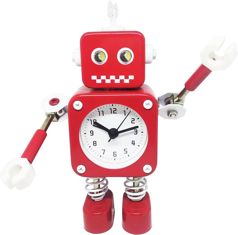 Cool Home Flash Light Kids Time Alarm Clock-Small Analog Robot Table Travel Clocks-Red