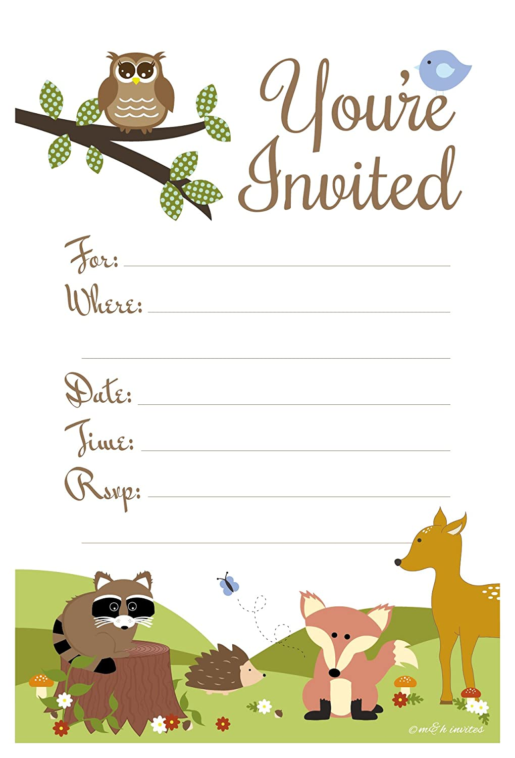 Amazoncom Woodland Animals Baby Shower or Birthday Invitations