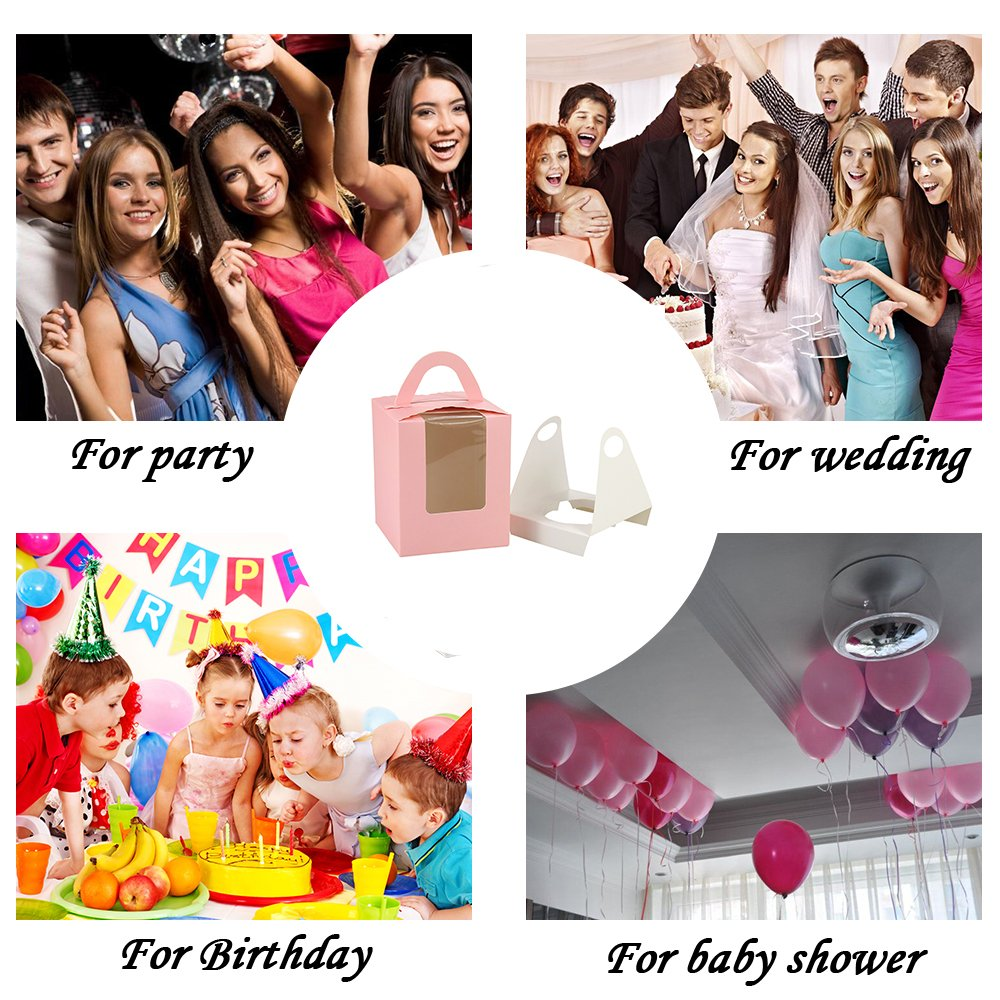 Barwa Single Cupcake Boxes with Inserts Window Handle Individual Baking Bakery Cake Boxes Container for Cupcake Muffins for Wedding Birthday Baby Shower Party Crafting Easy To Assemble 30 Counts