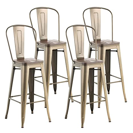 Awesome Mecor Metal Set Of 4 Bar Stools W Removable Backrest 30 Dining Counter Height Chairs With Wood Seat Antique Bronze Gmtry Best Dining Table And Chair Ideas Images Gmtryco