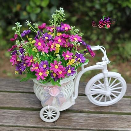 Kaxima Decoración casera simulación flor Mini flotador sistema bicicleta tejido flor flores seda saltar Lanju