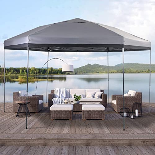 PHI VILLA 12 x 10 UV Block Sun Shade Gazebo Canopy with Hardware Kits, Gazebo Shade for Patio Outdoor Garden Events,Grey