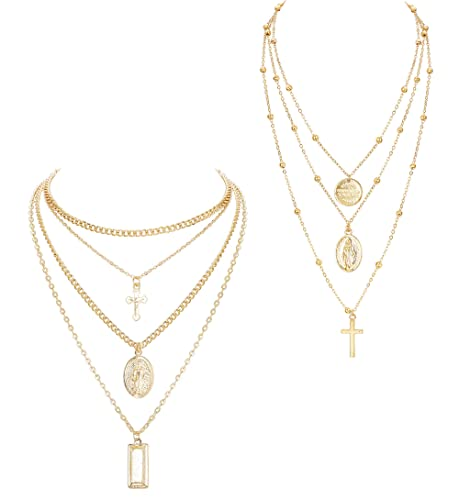 7c9fc27a3 ORAZIO 2PCS Layered Necklace for Women Girl Cross Blessed Virgin Mary  Pendant Necklace Chain Gold Tone