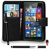 Microsoft Lumia 535 Prämie Leder SCHWARZ Brieftasche Flip Fall Abdeckung Beutel MIT 2 IM 1 Ball Stift Berühren Griffel ROT Staub Stopper Bildschirm Schutz & Polieren Tuch SVL6 VON SHUKAN®, (BRIEFTASCHE SCHWARZ)