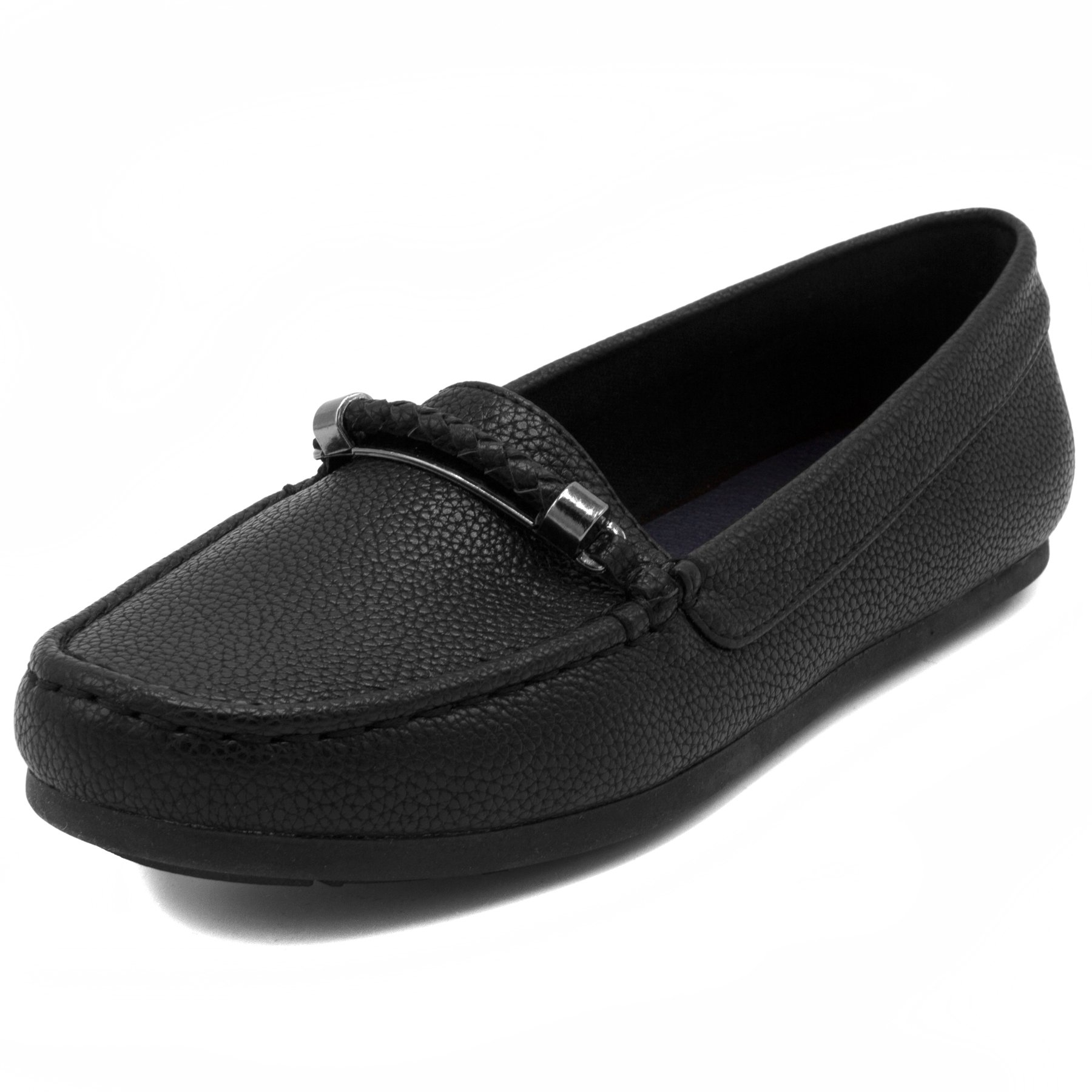 Nautica Women's Beckington Loafer with Braided Buckle Fashion Shoe Black Tumbled-6