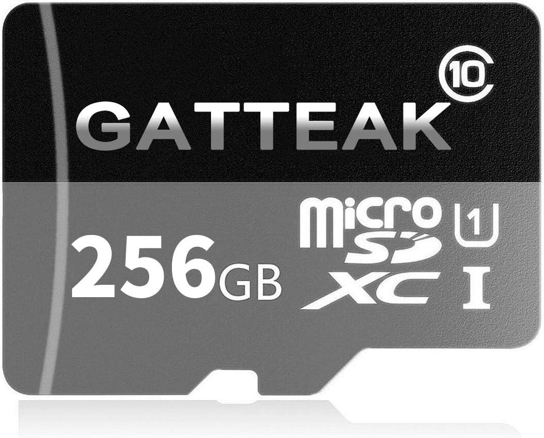 GATTEAK - Tarjeta de Memoria microSDXC de 256 GB con Adaptador SD Class 10, Resistente al Agua