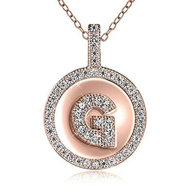 Amazon sterling silver rose gold plated cubic zirconia initial sterling silver rose gold plated cubic zirconia initial pendant necklace 18quot aloadofball Choice Image