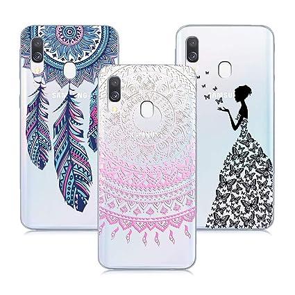 XTCASE 3X Funda para Samsung Galaxy A20 Transparente Ultrafina Delgado Silicona Bumper Carcasa Impreso Suave TPU Flexible Protector Antigolpes - Rosa ...