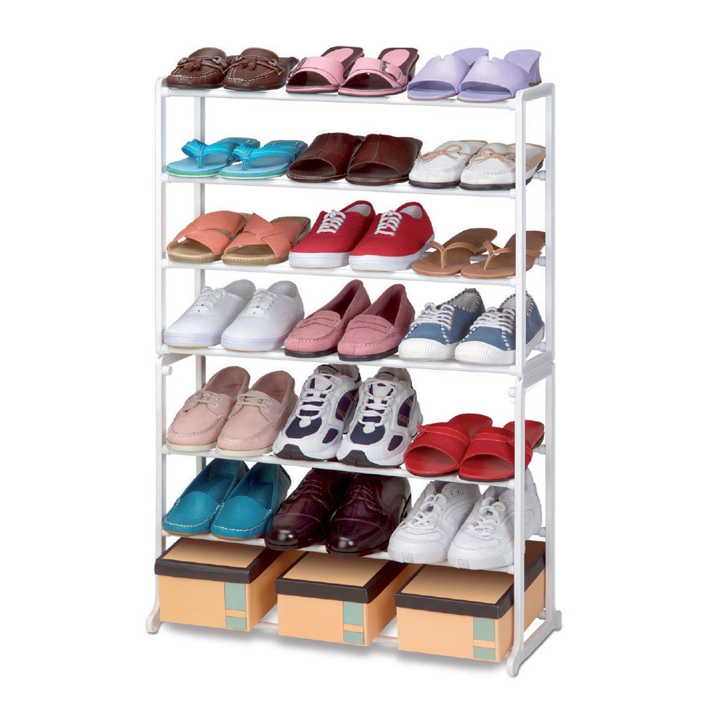 vinsani shoe stand storage rack organiser shelves 7 tier 21 pairs shoe rack amazoncouk shoes u0026 bags