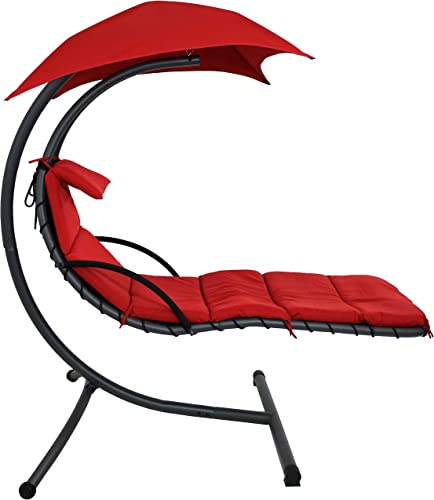 Sunnydaze Floating Chaise Lounger, Outdoor Hanging Hammock Patio Swing Chair with Canopy