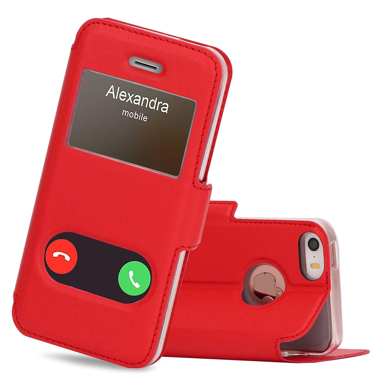 Coque iPhone 5S FYY Coque iPhone Se Coque iPhone 5 Housse Magnetique Smart View avec Fen/être dOuverture pour Apple iPhone SE//5S//5 Noir