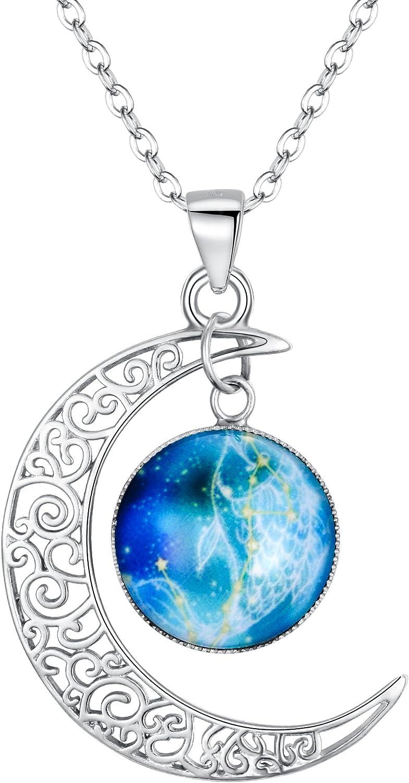 Clearine Femme Collier 12 Constellations Signes du Zodiaque 925 Argent Lumineux Fluorescent Signifiatif Parure Bijoux Horoscope Astrologie