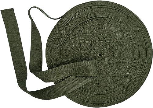 Cinta de sarga de algodón natural, 20 mm de ancho, 15 yardas, cinta al bies, cinta de espiga, rollo de cinta para delantales, costura, manualidades (verde, 4/5 pulgadas): Amazon.es: Amazon.es