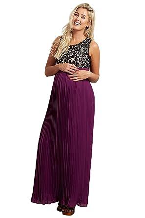 301b7381181 PinkBlush Maternity Pleated Chiffon Lace Top Maxi Dress at Amazon ...