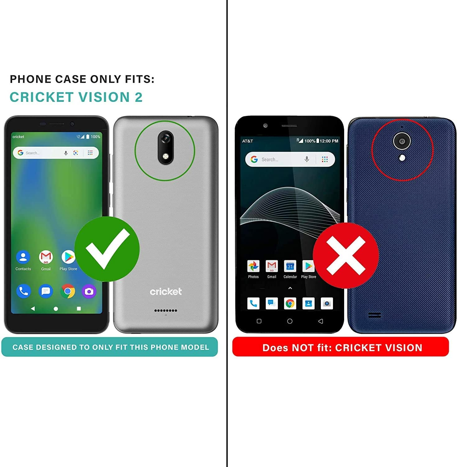 Shockproof Impact Resist Durable Phone Case -Rose Gold E-Began Case for Cricket Vision 2 Full-Body Protective Matte Bumper with Built-in Screen Protector U304AC, 2020 Release Glitter Shiny