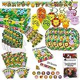 Dschungel Tiere Kleinkind Party Set XL 107-teilig für 8 Gäste Safari Design Deko Partypaket