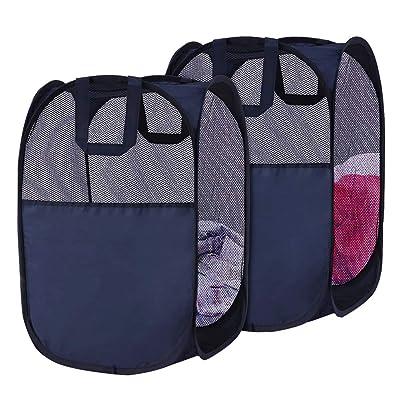 SUPINEFOX US Pop-Up Hamper, Foldable Pop-Up Mesh Hamper with Reinforced Carry Handles, Laundry Mesh Basket, Set of 2 (Blue): Home & Kitchen