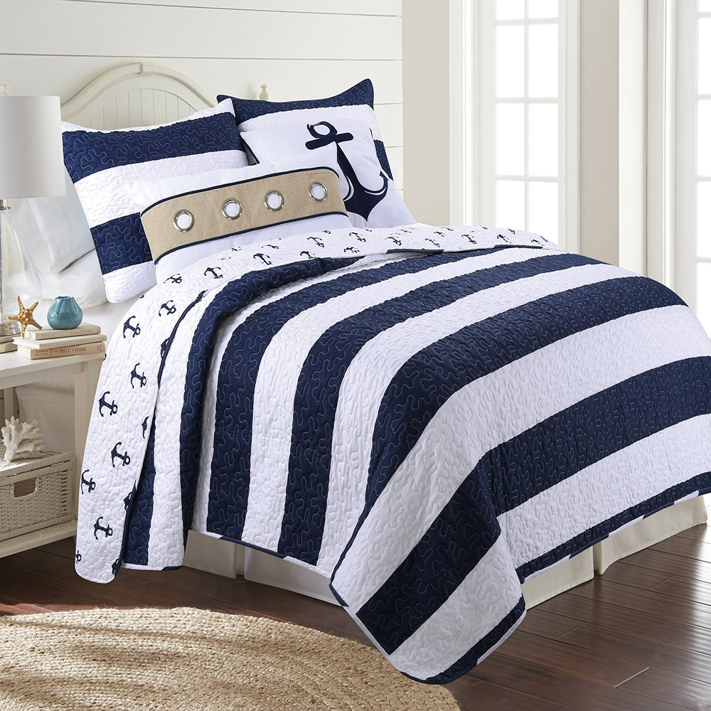 James Home Hallie Microfiber 3pc Reversible Nautical Stripe Quilt Set, Full Queen, Navy by James Home