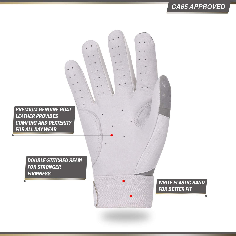 2Pairs Men Baseball Batting Gloves Breathable Anti-Slip Soft Goatskin Leather Palm Grey, SL9677 Vgo..