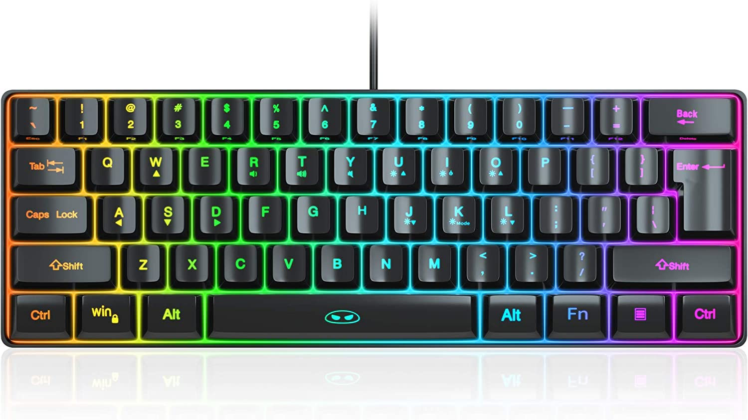 MageGee TS91 Mini 60% Gaming/Office Keyboard,Waterproof Keycap Type Wired RGB Backlit Compact Computer Keyboard for Windows/Mac/Laptop (Black)