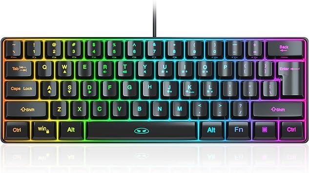 MageGee TS91 Mini 60% teclado para juegos/oficina, resistente ...