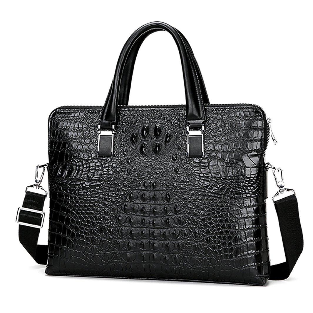 Fashion Mens Leather Briefcase Crocodile Pattern Handbag Alligator Embossed Leather Organizer Briefcase for Men Double zipper Man Laptop Bag 89046-3 (Black)