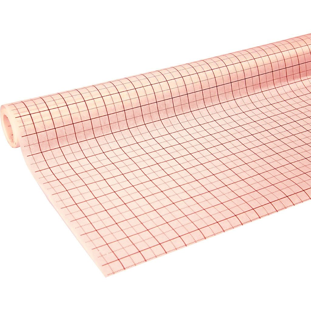 A Roll of Pattern Cutting Tracing Paper - White with Red Grid Pattern - 380 m Long (Approx) x 1.6 m Wide - For Professional Fashion Design and Tailor Pattern Cutting by HAND