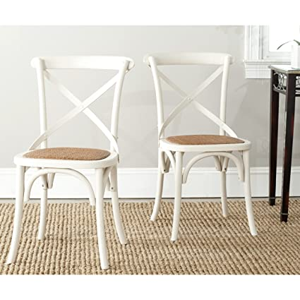 Safavieh American Homes Collection Franklin Farmhouse X-Back Antique White  Side Chair (Set of - Amazon.com - Safavieh American Homes Collection Franklin Farmhouse X