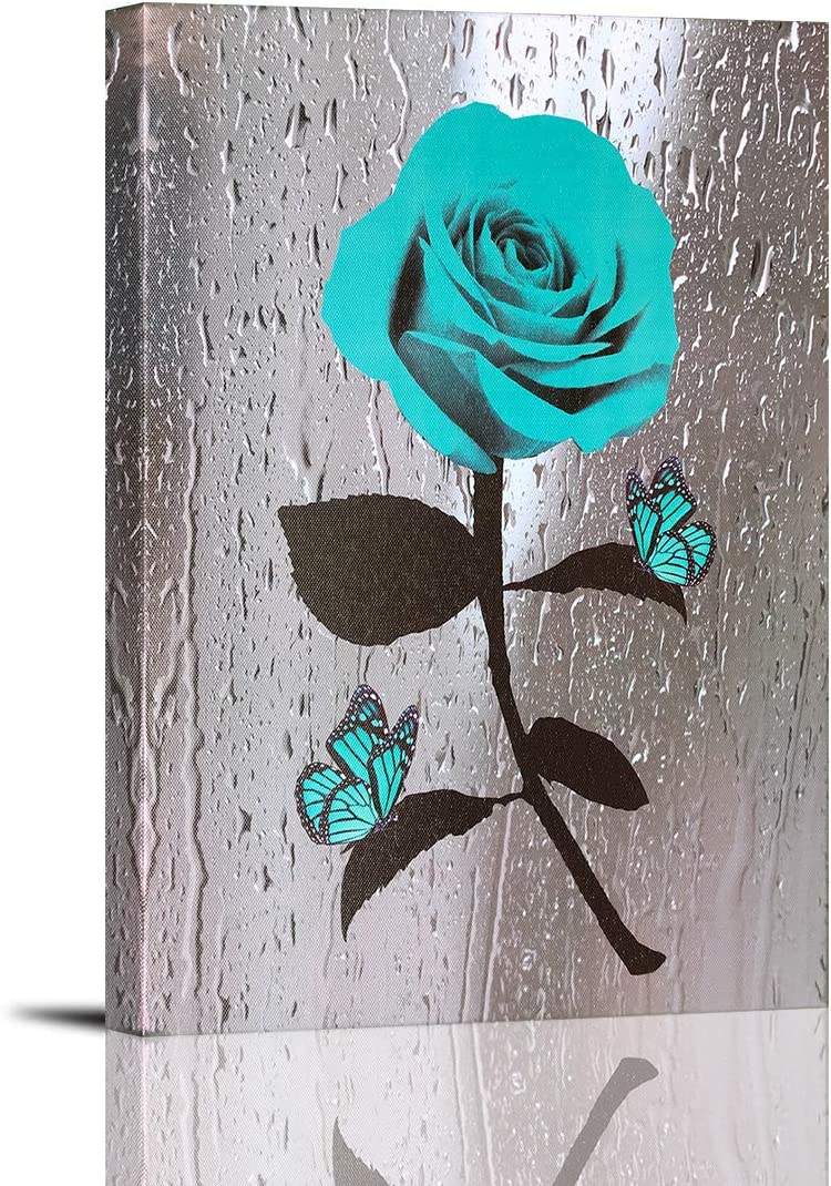Teal Rose Canvas Wall Art Turquoise Blue Flower Prints Contemporary Black and White Pictures for Bathroom Wall Decor 12 x 16 Inch