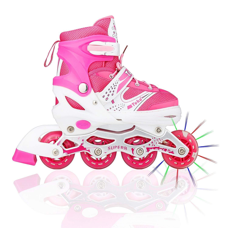 Tuko Children Adjustable Inline Skate Roler Shoes for Girl Gift (Small/Little kids 12M/13M/1M)