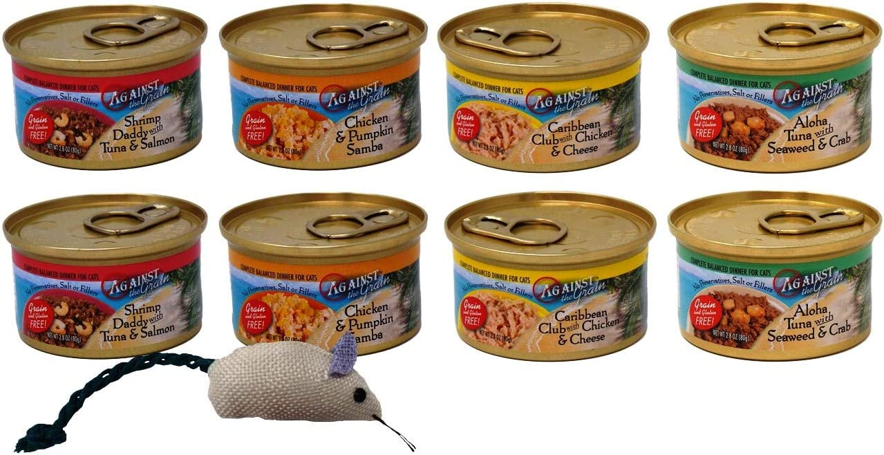 Against The Grain Gluten Grain-Free Cat Food 4 Flavor Variety 8 Can Bundle with Toy, 2 Each Shrimp Tuna Salmon, Chicken Pumpkin, Chicken Cheese, Tuna Seaweed Crab 2.8 Ounces