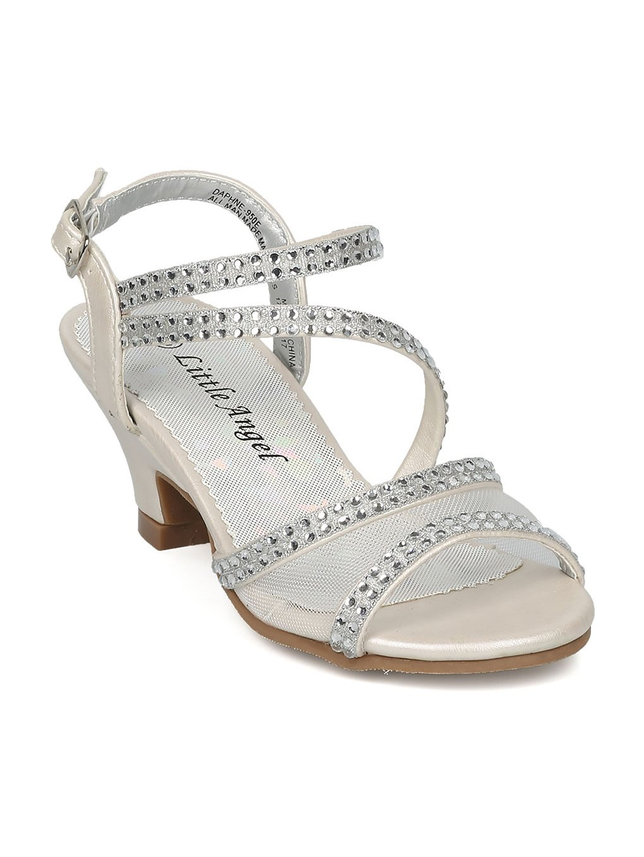 Alrisco Girls Open Toe Mesh and Rhinestone Strappy Kiddie Heel Sandal HC30 - Ivory Leatherette (Size: Big Kid 4)