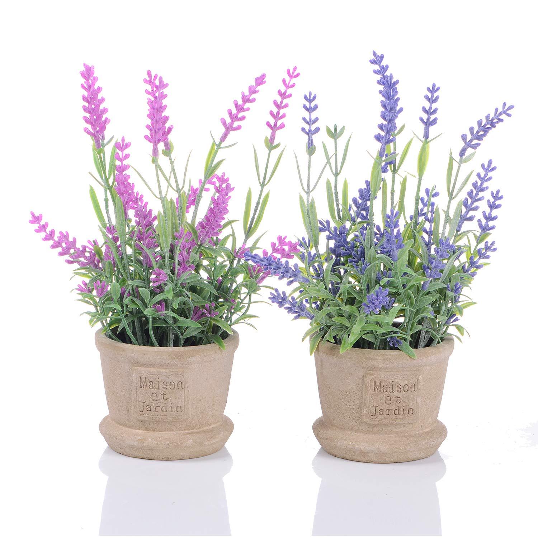 YQing Lavender Pianta artificiale in vaso di Fiori Finti Piante Finte Vasi  Piante Fiori Artificiali per 44fcdd5035b
