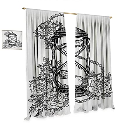 2cd6b127e WinfreyDecor Tattoo Customized Curtains Pencil Drawing Romantic Theme  Hourglass Symbol of Eternal Love with Roses Print