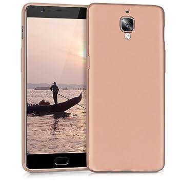 kwmobile Funda para OnePlus 3 / 3T - Carcasa para móvil en [TPU Silicona] - Protector [Trasero] en [Oro Rosa Metalizado]
