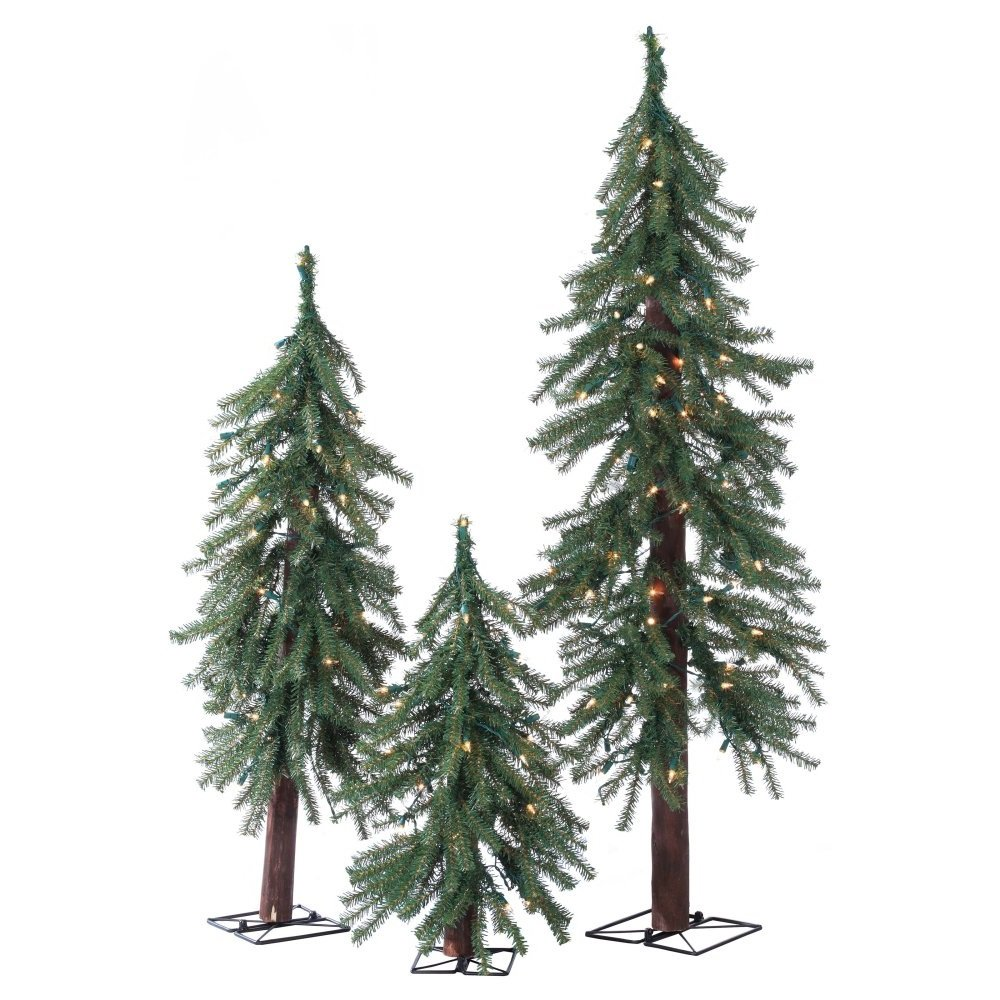 Artificial Christmas Trees. This Fake Xmas Alpine-style Green Pine Trees Set Flame Retardant, Easy Assembly, Looks Natural. Great For Indoor & Holiday Season Party Decor. 2, 3 & 4 Foot. by Artificial-Christmas-Tree