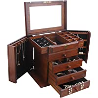 Extra Large White/Brown Wooden Jewellery Box Armoire Rings Storage Box 5 Layer 02 (Brown)
