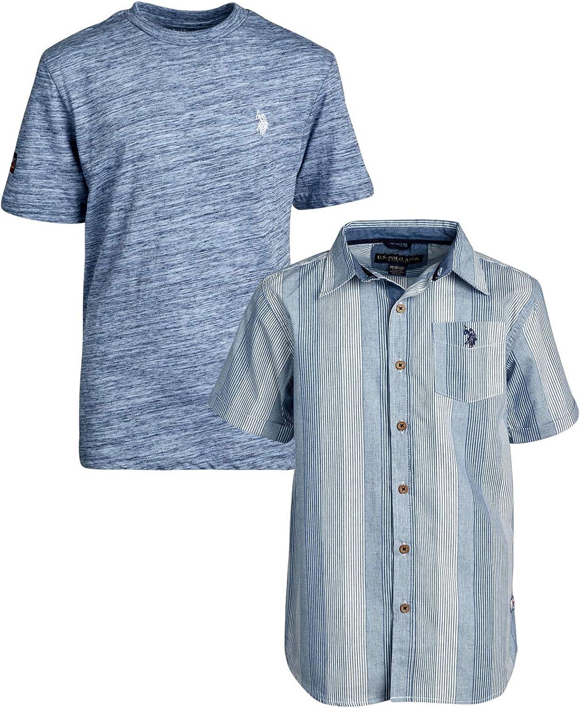 U.S Boys Short Sleeve Woven Henley T-Shirt Set Polo Assn
