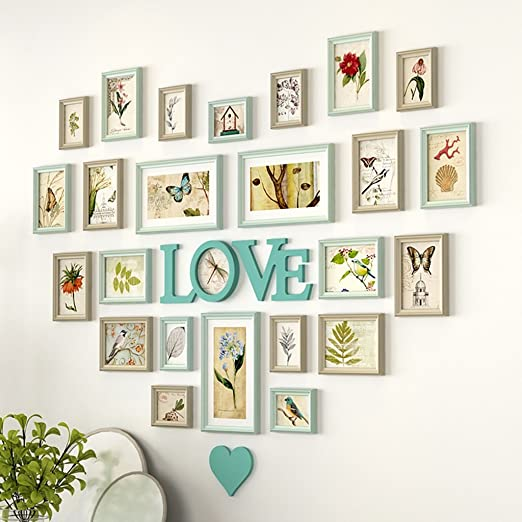 AXZPQ Wall Hanging Photo Frame Heart-shaped LOVE Collection Simple Modern Living Room Bedroom Picture Combination Color : A