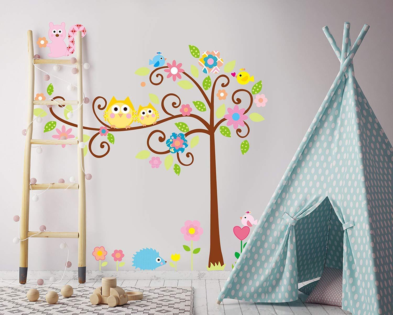 Stickers Muro Scoiattoli Decals Grandi con Albero Murales Wall Art Foglie Vinile Fiori Uccelli Baby Nursery Ricci Parato con Decorazioni Foresta per Pareti Camera Letto Bambine o Bambini