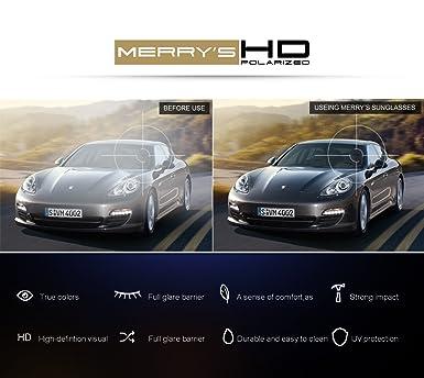 6c6e5387161 Amazon.com  MERRY S HD Polarized Aluminum Sunglasses Luxury Shades Shield  Series S8086 (Black