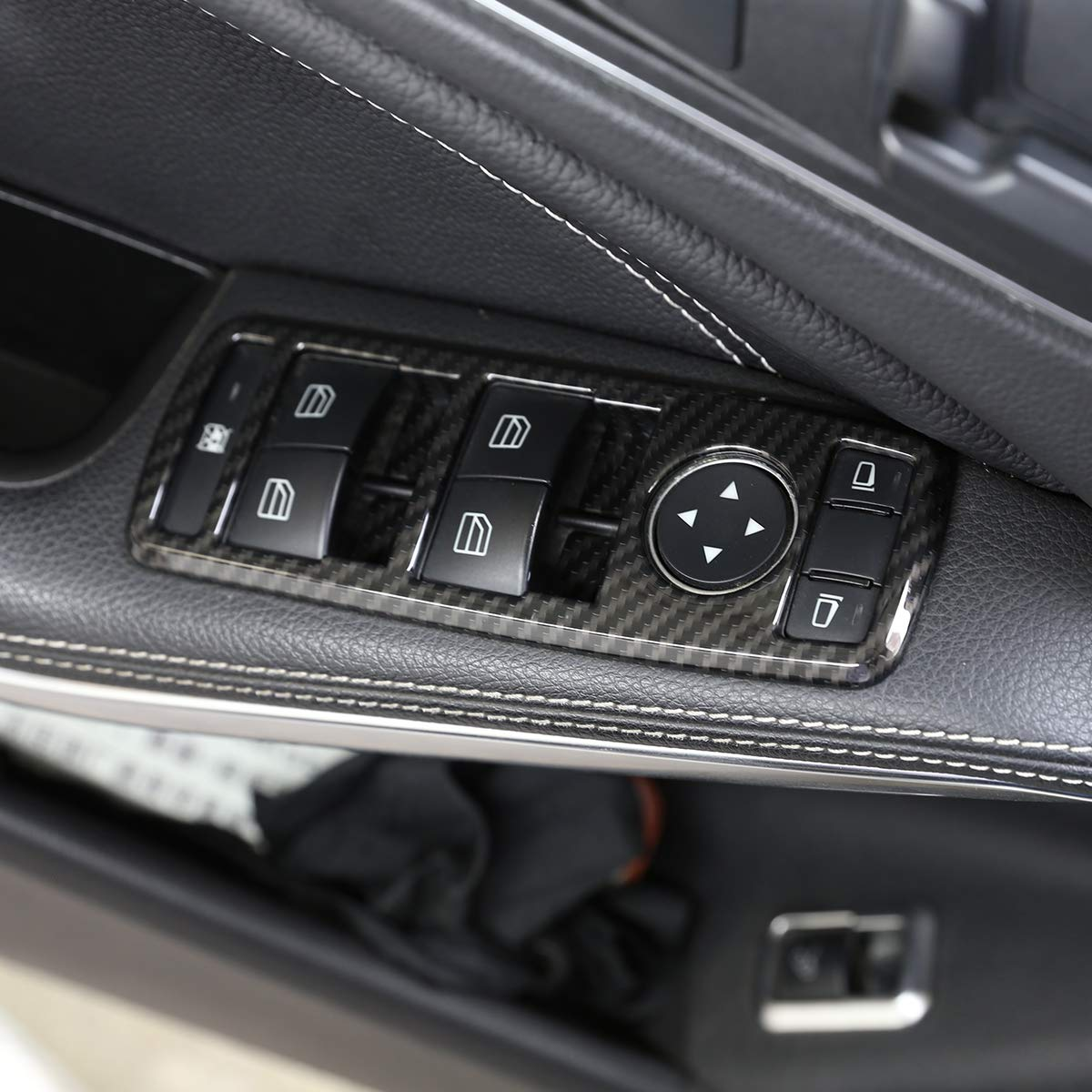 ABS Carbon Fiber Style Window Lift Switch Button Cover Trim For SLK//GLK X204//G500 //A//B//CLA//C W204//GLA//ML//E W212//GLE W176 W246