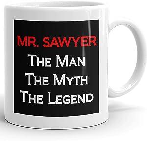 MugMax The Man the Myth the Legend D9 Ceramic Coffee Mug Personlized Mr. Sawyer White 11 oz