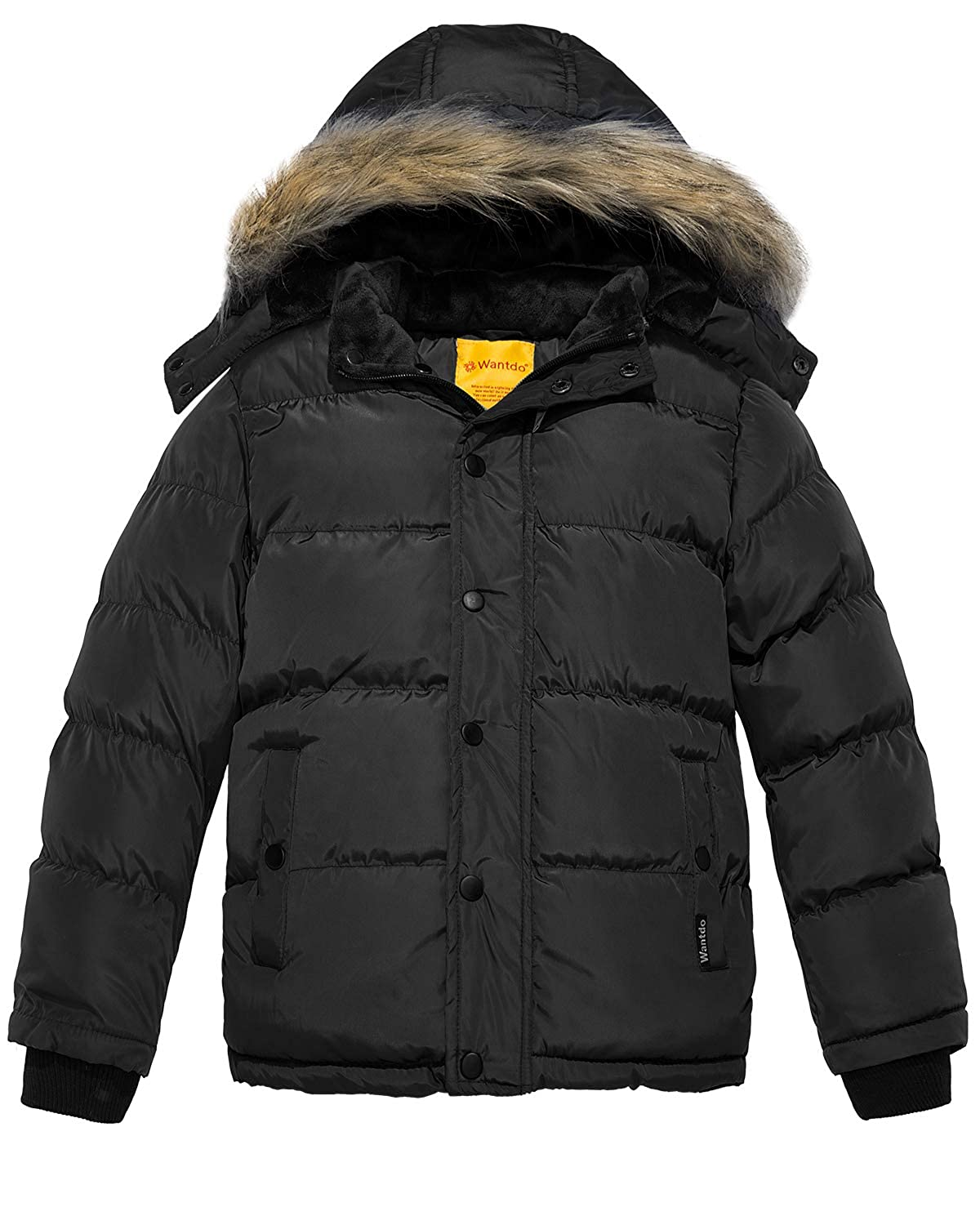 Wantdo Boy's Hooded Puffer Jacket Thick Winter Coat Warm with Reflective Stripe