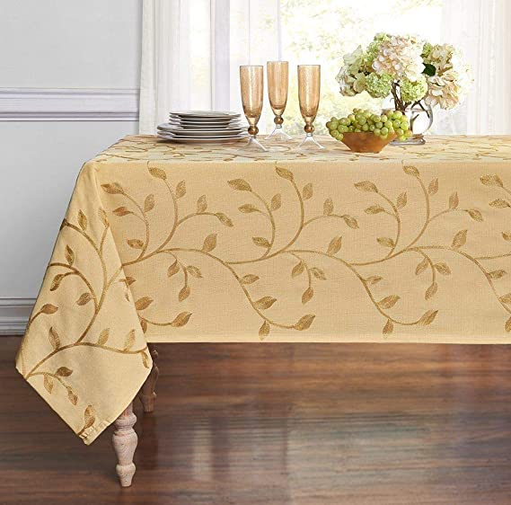 GoodGram Luxurious Heavy Weight Madison Leaf Embroidered Fabric Tablecloth Assorted Colors (Gold, 54 in. x 102 in. Rectangle (8-10 Chairs))