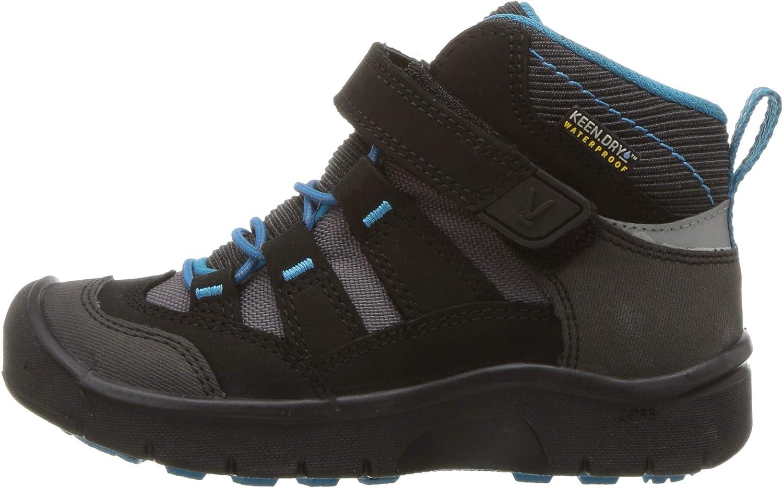 KEEN Kids Hikeport Mid WP Hiking Boot 9 Toddler US Toddler Black//Blue Jewel