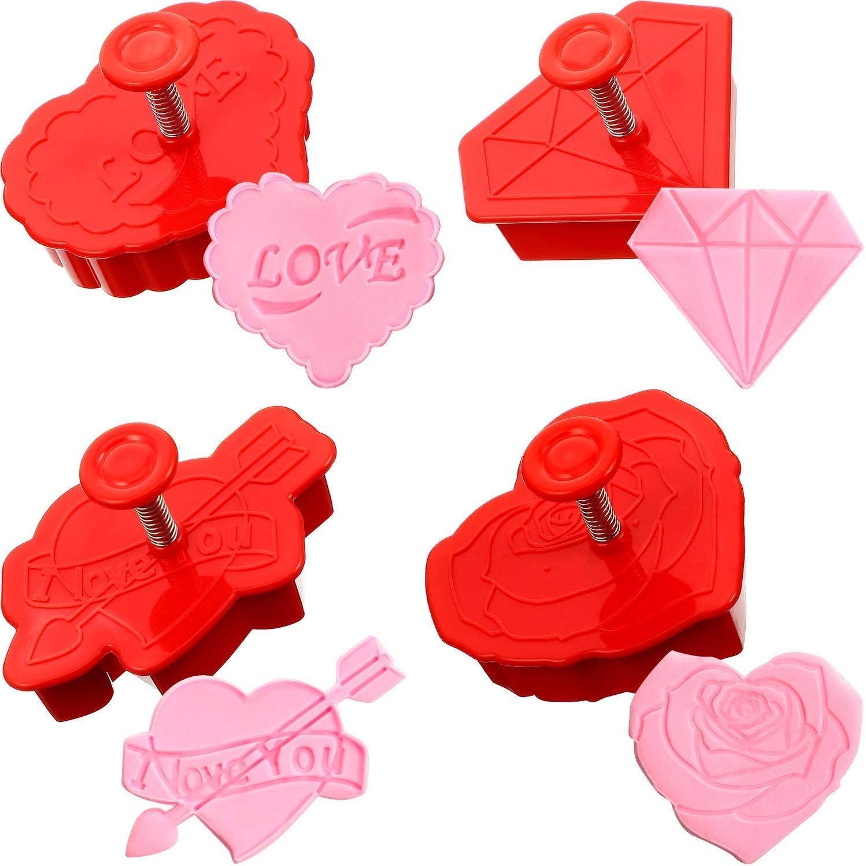 emporte-pi/èce Coeur Iindes Emporte-pi/èces 4Pcs Valentin Ours Rose Oiseau emporte-pi/èce 3D Fondant Piston Plongeur